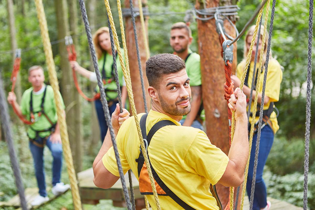 man gets rope course therapy